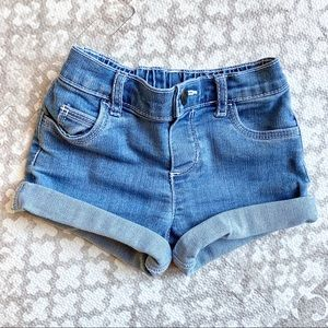 Carter's baby girl blue jean shorts, 12 mo
